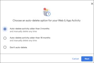Choose auto delete option for web activity